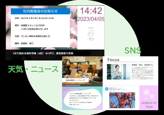 「SNS(Twitter・Instagram)連携など、豊富なウィジェットを用意」のイメージ画像